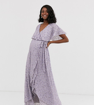 ASOS DESIGN Maternity maxi dress with cape back and dip hem in scatter sequin