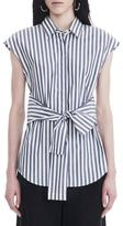 Alexander Wang Collared Tie Front Shirt White Blue Stripe