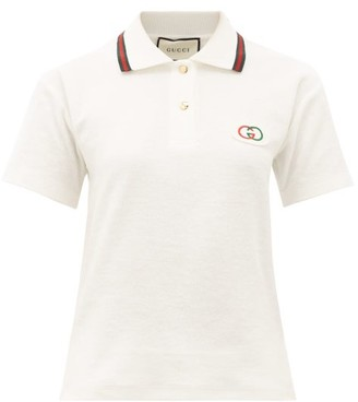 Gucci GG-applique Cotton-terry Polo Shirt - Womens - Ivory