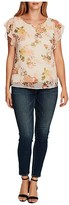 Vince Camuto Flutter Sleeve Beautiful Blooms Yoryu Blouse (Cameo Cream) Women's Clothing