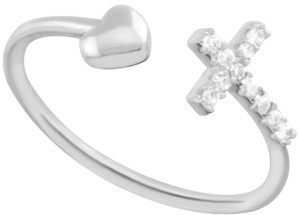 Essentials Crystal Cross & Heart Open Toe Ring in Fine Silver-Plate