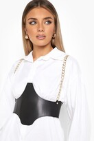 Thumbnail for your product : boohoo Black Pu Gold Chain Detail Corset Belt
