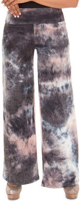 Diva D Women's Casual Pants TAUPE - Taupe Tie-Dye Wide-Leg Pants - Women & Plus