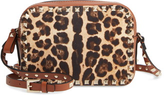 Valentino Rockstud Leather & Canvas Crossbody Bag