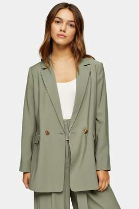Topshop PETITE Khaki Double Breasted Lined Blazer
