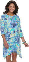 Caribbean Joe Women's Sharkbite Hem Printed Dress