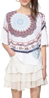 Desigual Crew Neck Graphic Print T-Shirt with 3/4 Length Sleeves