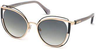 Roberto Cavalli Cutout Cat-Eye Metal Sunglasses
