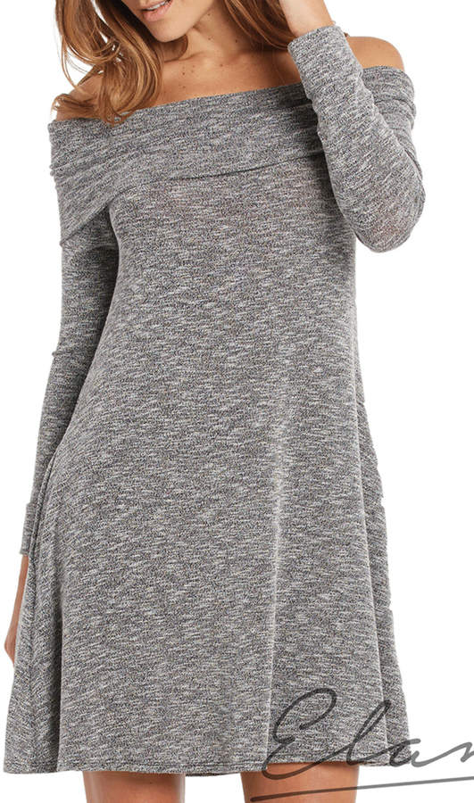 Elan International Fold Over Shoulder Dress