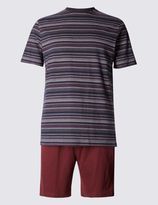 Marks and Spencer Pure Cotton Striped T-Shirt & Short Set