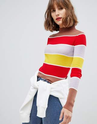 Asos Design DESIGN high neck long sleeve rib jumper in 70s stripe-Multi