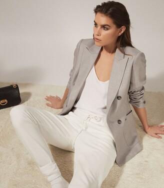Reiss Finn - Wool Blend Double Breasted Blazer in Grey Marl