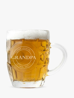 Treat Republic Personalised Emblem Dimpled Beer Glass, 568ml
