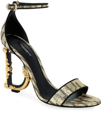 Dolce & Gabbana Metallic Fabric Sandals with Logo Heel