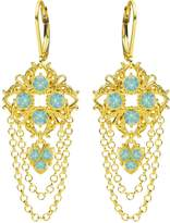 Elegant Chandelier Earrings Designed by Lucia Costin with Swarovski Crystals, Falling Chains and Cute Charms; 24K Gold Plated over .925 Sterling Silver; Handmade in USA