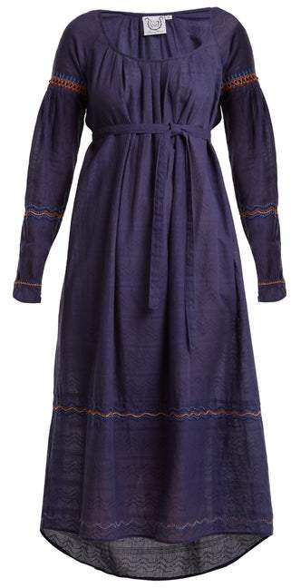 Thierry Colson Cretan Embroidered Cotton Dress - Womens - Navy