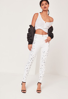 Missguided High Waisted Paint Splatter Knee Skinny Jeans White