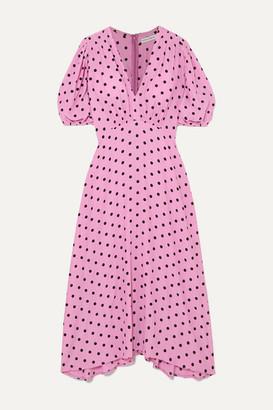 Faithfull The Brand Vittoria Polka-dot Crepe Midi Dress - Pink