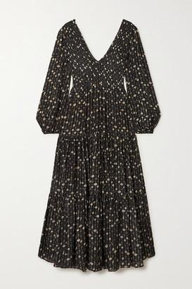 Rixo Brooke Shirred Tiered Printed Modal Maxi Dress - Black