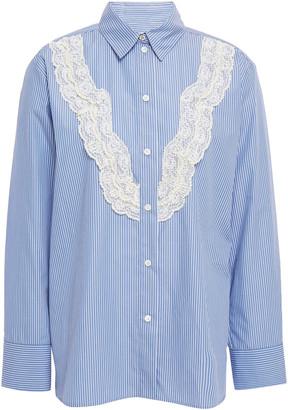 Sandro Sullivan Pleated Lace-trimmed Striped Cotton-poplin Shirt