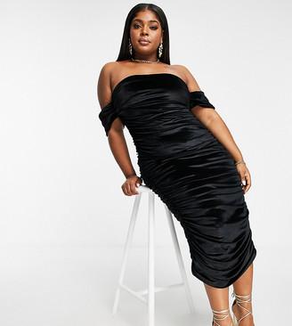 Club L London Plus velvet off-the-shoulder midi dress in black
