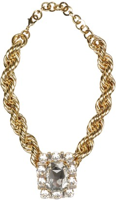 Alessandra Rich Gold Toned Choker With Crystal Square