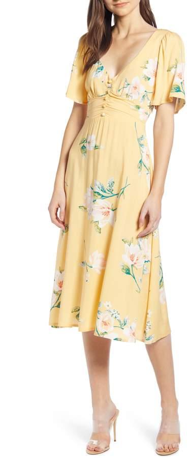Leith Ruched Button Waist Midi Dress