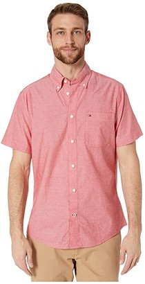 Tommy Hilfiger Adaptive Magnetic Short Sleeve Button Shirt Custom Fit (Apple Red) Men's Clothing