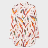 Paul Smith Women's Oversized Light Pink Silk Shirt With 'Feather' Print