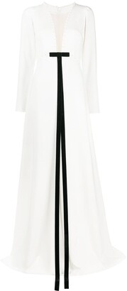 Loulou Plunge-Neck Maxi Dress
