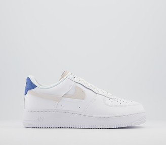 Nike Force 1 07 Trainers White Platinum Tint Game Royal Red
