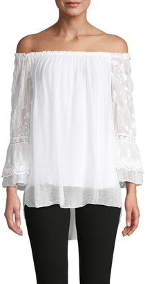 Le Marais Off-The-Shoulder Embroidered Silk Top