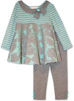 Bonnie Baby Baby Girls' 2-Pc. Mixed-Print Trapeze Tunic & Leggings Set