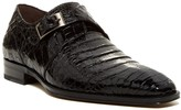 Mezlan Gables Leather & Genuine Crocodile Monk Strap Loafer