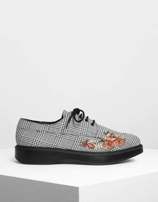 Charles & Keith Floral Embroidery Derby Shoes