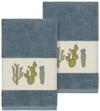 Linum Towels Teal Mila Embellished Hand Towel - Set of 2
