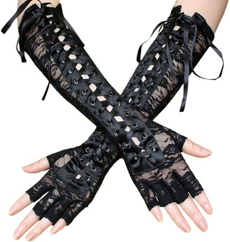 TENDYCOCO Gloves Sexy Lace Rivet Gloves Elbow Length Lace Up Flirting Gloves for Women Girls 1 Pair (Black)