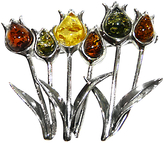 Goldmajor Multiple Flower Amber And Silver Brooch