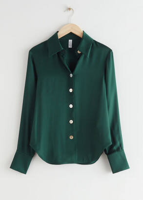 And other stories Shell Button Satin Blouse