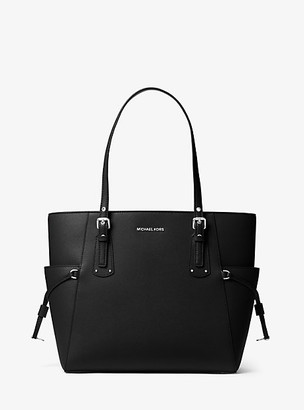 MICHAEL Michael Kors MK Voyager Small Crossgrain Leather Tote Bag - Black - Michael Kors