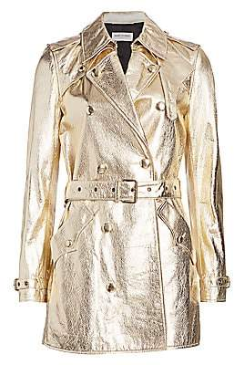 Saint Laurent Women's Metallic Leather Trench Coat