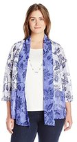 Alfred Dunner Women's Plus Size Floral Ombre 3fer Knit Top with Necklace