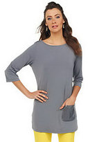 Joan Rivers Classics Collection Joan Rivers 3/4 Sleeve Long T-Shirt with Sequin Pocket