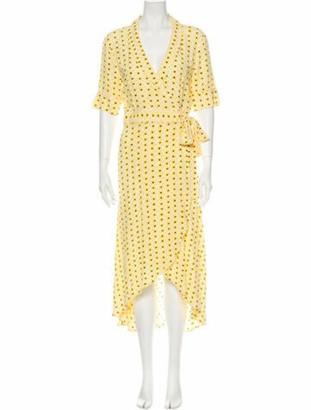 Ganni Printed Long Dress w/ Tags Yellow