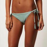 River Island Womens Light green tie side bikini bottoms