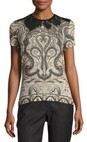 Etro Classic Paisley Leaf-Collar Top, Ivory