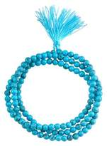 "Women's Silver Plated Turquoise 4Mm Bead Wrap Bracelet - Silver (21"")"