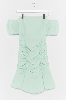 Nasty Gal Womens Don't Ruche the Good Things Puff Sleeve Mini Dress - Sage