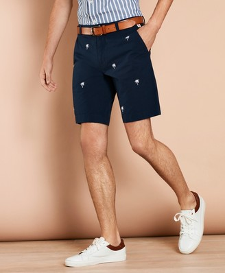 Brooks Brothers Embroidered Palm Tree Seersucker Shorts