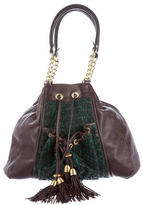 Zac Posen Suede-Accented Leather Shoulder Bag